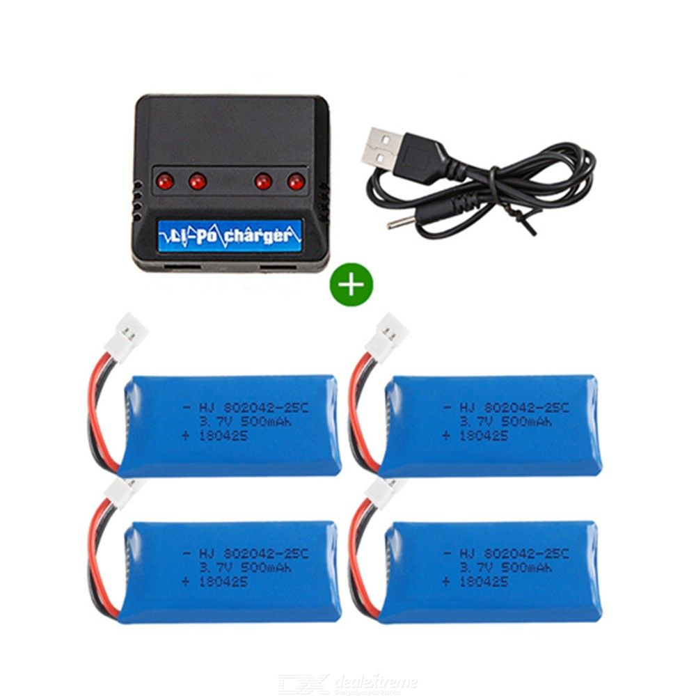 3.7V 500mAh 802042 25C Lithium Rechargable Batteries with 4 in 1 Charger for 107 U816 U941A U941 U927 WIFI818 JXD385 drone