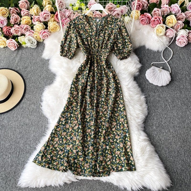 South Korea chic sweet floral minus age v-neck with closed show thin waist over-the-knee hubble-bubble sleeve dress fashionable