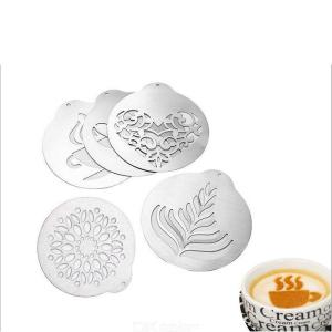 5 sets of creative kitchen utensils Coffee Latte art chip Coffee shop DIY mold portable stainless steel coffee printing plate