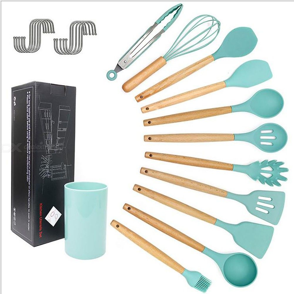 Wooden handle silicone kitchen utensils and appliances 11 - piece silicone cooking spoon set
