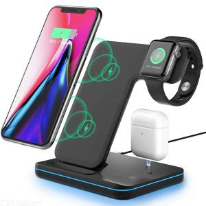 3 in 1 Qi Wireless Charger Stand for Apple Watch 6 5 4 3 2 AirPods pro 15W Fast Charging Dock Station for iPhone 12 11 XS XR X 8