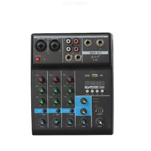 JIYF-4A 4 Channel Household Computer Mixers Mini USB Connection Multi-function DJ Mixer Digital Audio Mixer With Bluetooth