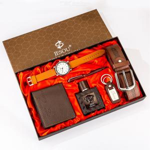 6pcs/set Jesou Collection Leather Belt+Wallet+Perfume+Key Chain+Large Dial Quartz Watch+Pen Gift Set For Father Boyfriend