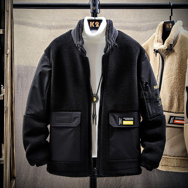 Lamb Wool Jacket Men Cotton Autumn And Winter Stand-up Collar Thicken Cotton Clothes Mens Korean Version Fleece Padded Jacket T