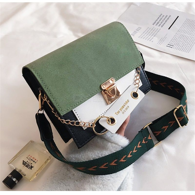 Fashion Wide Strap Shoulder Bags Mini Square Shape Sling Bags Korean Style Daily Wear Bags Ladies Simple Office Bag