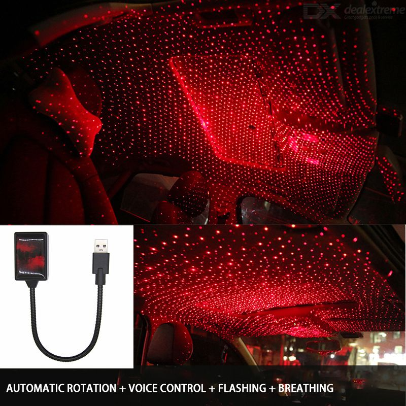 Automatic Rotating Car Star Light Waterproof USB Interface 3 Modes Adjustable Voice Control