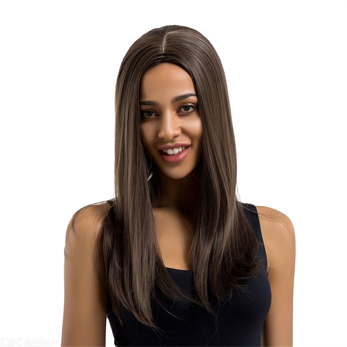 European Style Fashion Wigs Ladies Middle Part Long Straight Wigs Dark Brown Synthetic Hair