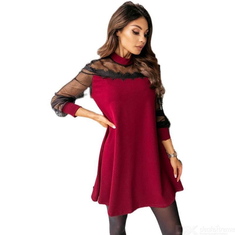 DeRuiLaDy Spring 2021 Sexy Patchwork Lace Mini Dress Stand Collar Long Sleeved Dress Female Elegant Ladies Party Club Vestidos