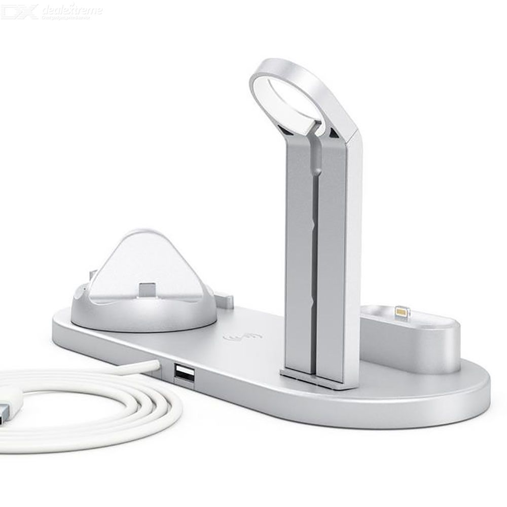 Multi-function wireless charger stand, mobile phone, earphone, watch, three-in-one charger base