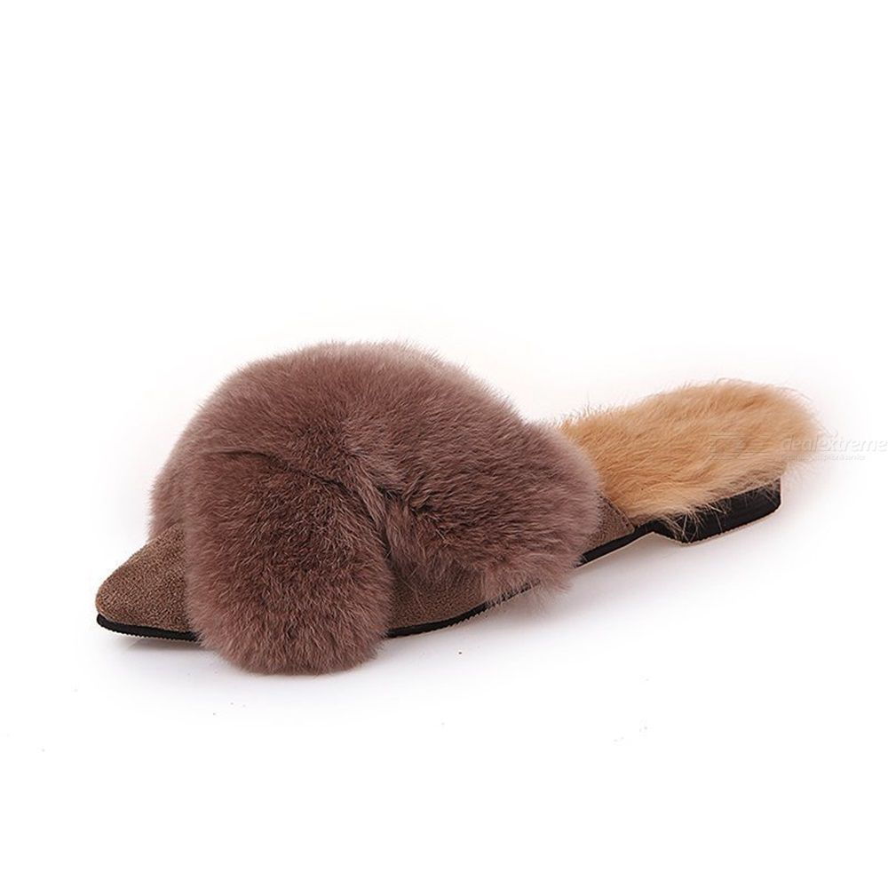 Furry Slippers Pointed Flat Sandals Wear Rabbit Fur Warm Slippers For Women