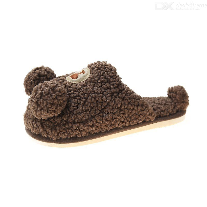 Korean Style Cartoon Bear Cotton Slippers Plus Size Thick Warm Plush Slippers Cu