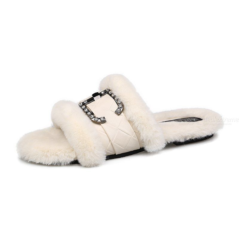 One Word Sandals With Rhinestones Flat-bottomed Slippers With Belt Buckle Rabbit