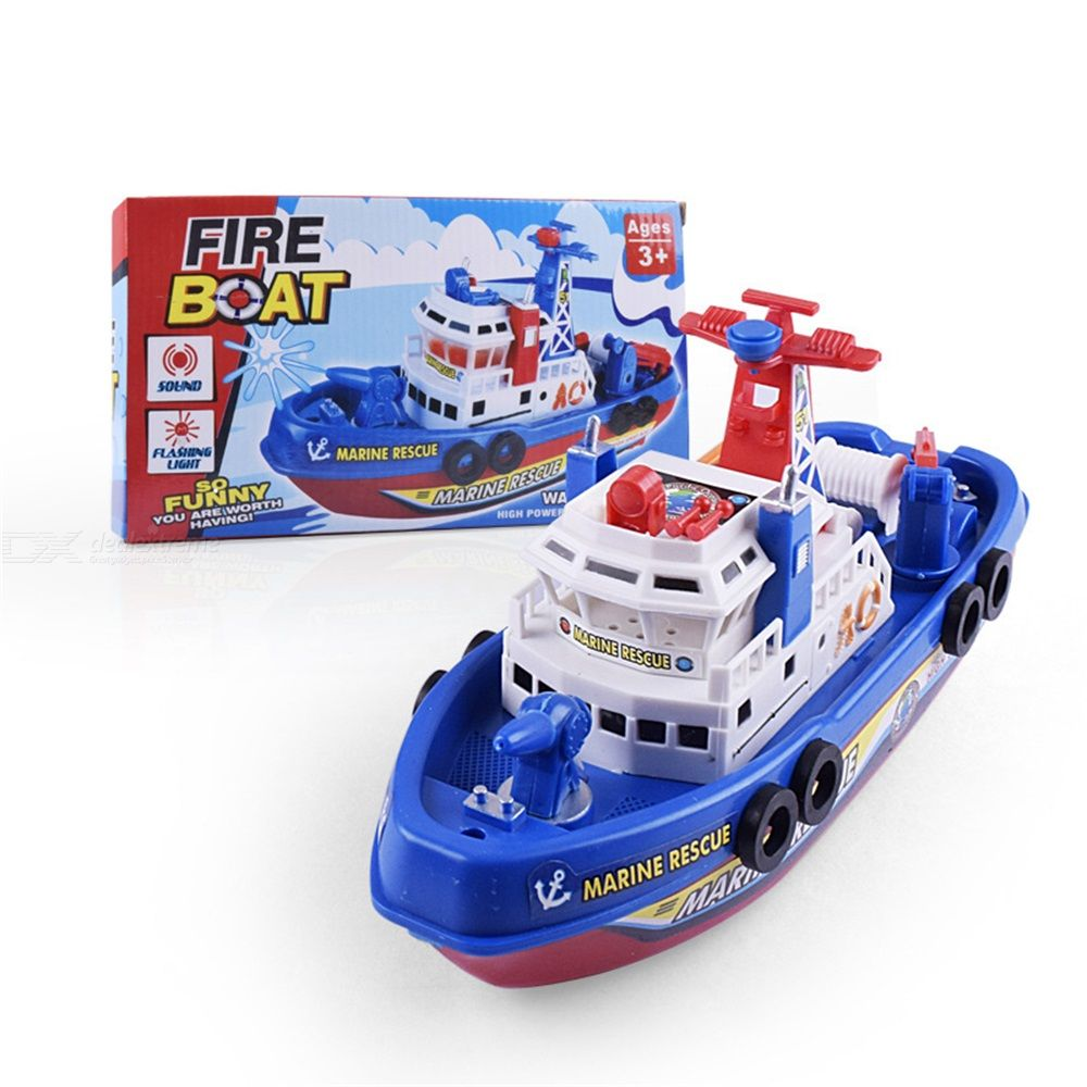 Electric Fire Boat Toy Musical Luminous Water Spray Model Boat Toy For Kids
