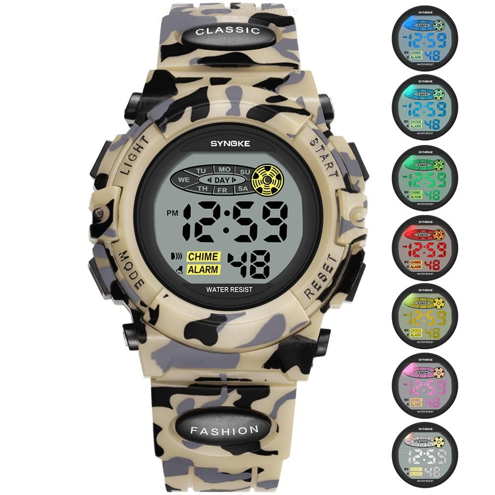 SYNOKE 9035 Digital Wristwatch With Colorful Lights Waterproof Camouflage Sport Watch