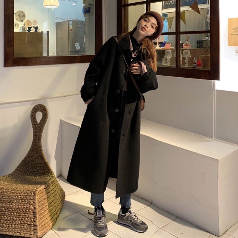 Autumn Winter Korean Style Woolen Coat All-match Medium To Long Thick Blends Coat Solid Color Fashion Coat