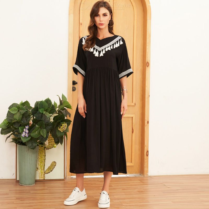 Woman Knitted Color contrast Regular Average Elasticity Joint Bohemian style Dress