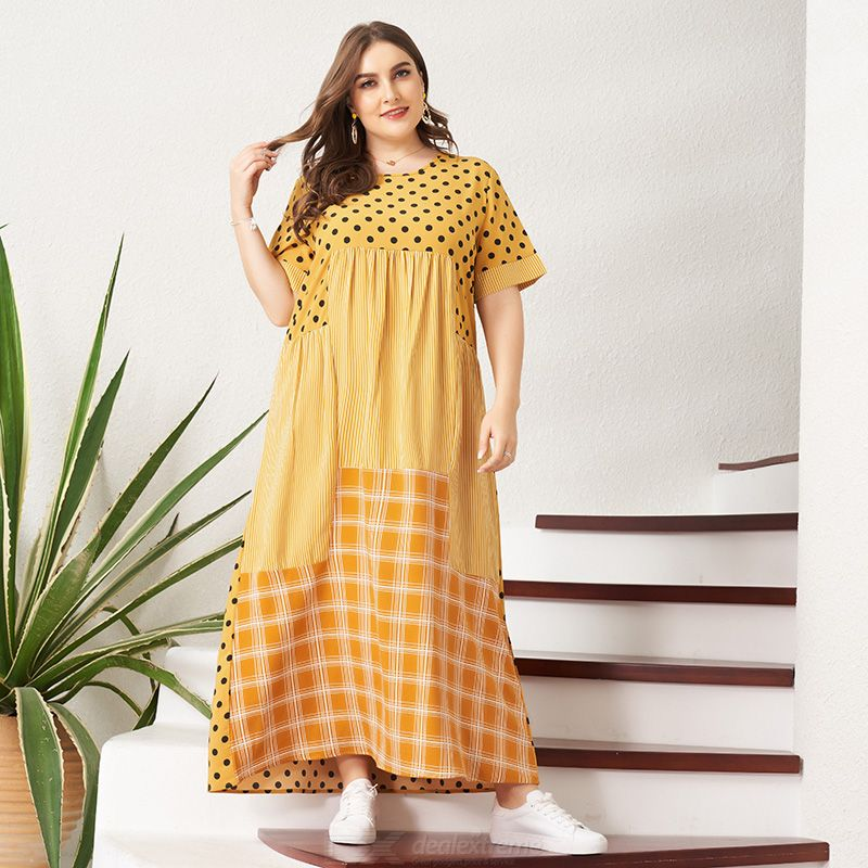 Woman Joint Loose Inelasticity Wave point Bohemian style Dress