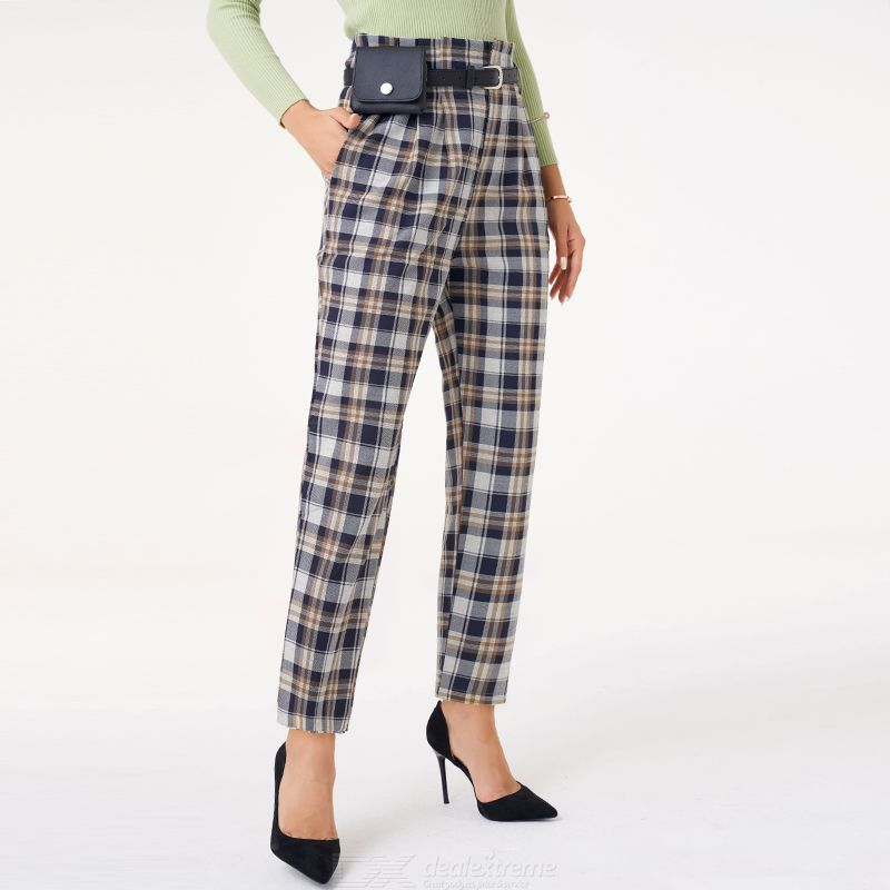 Woman Square Regular Inelasticity Geometry Sweety Suit Pant