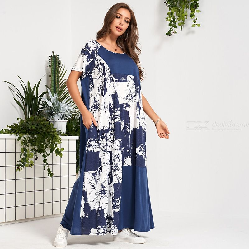 Woman Joint Color contrast Loose Inelasticity Printing Relaxation Dress