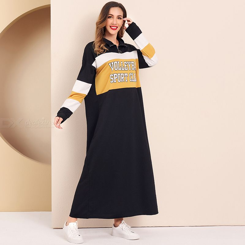 Woman Joint Color contrast Character /word Loose Inelasticity Word Sport Dress