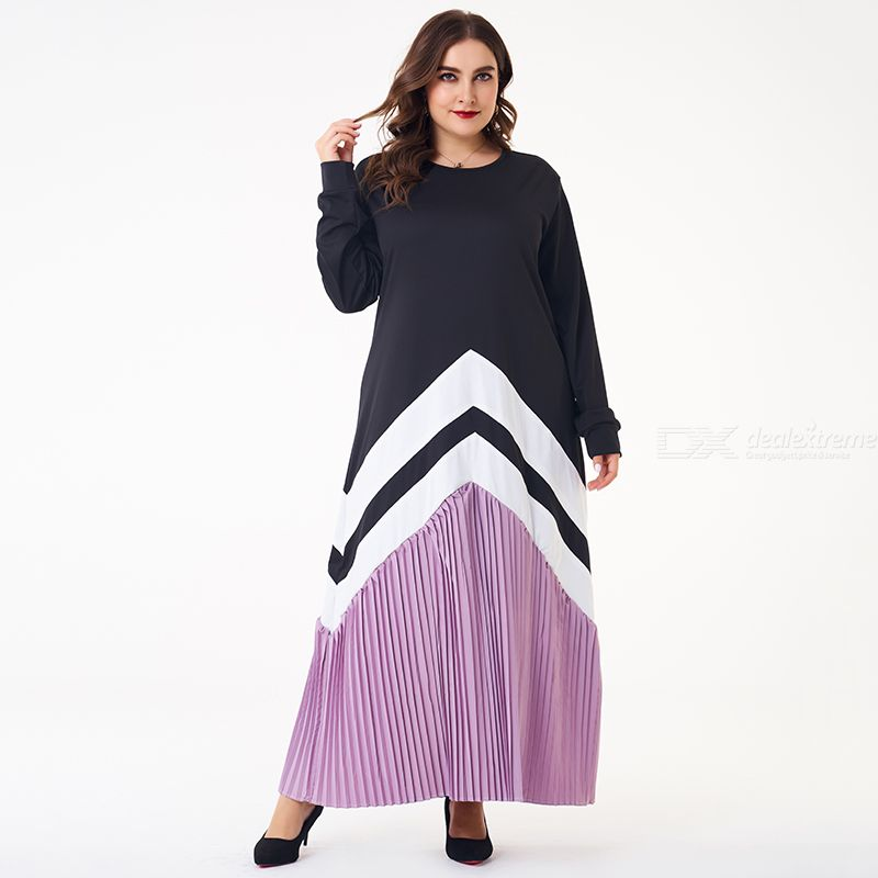 Woman Joint Color contrast Loose Inelasticity Joint Fast Fashion Dress
