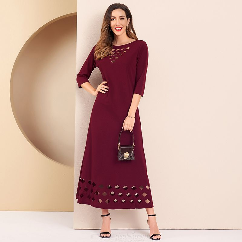 Woman Pure Color Hollow Out Slim Inelasticity Hollow Out Gentry temperament Dress