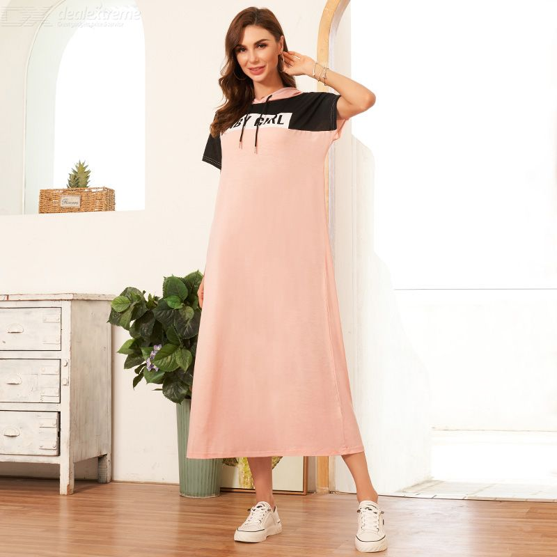 Woman Joint Color contrast Character /word Loose Average Elasticity Joint Relaxation Dress