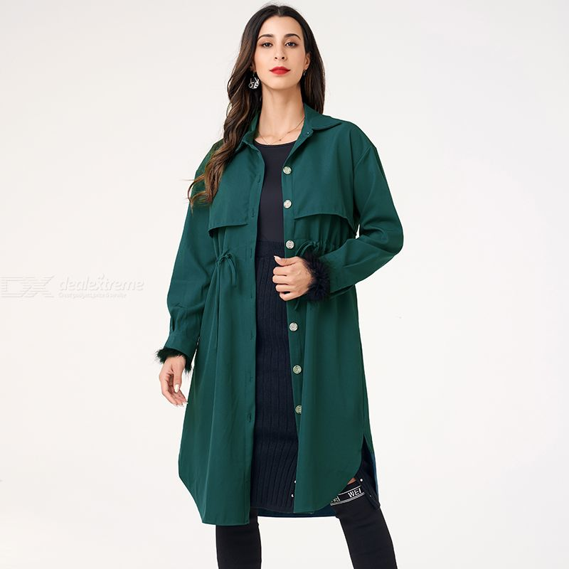 Woman Pure Color Loose Inelasticity Pure Color Sweety Dust Coat