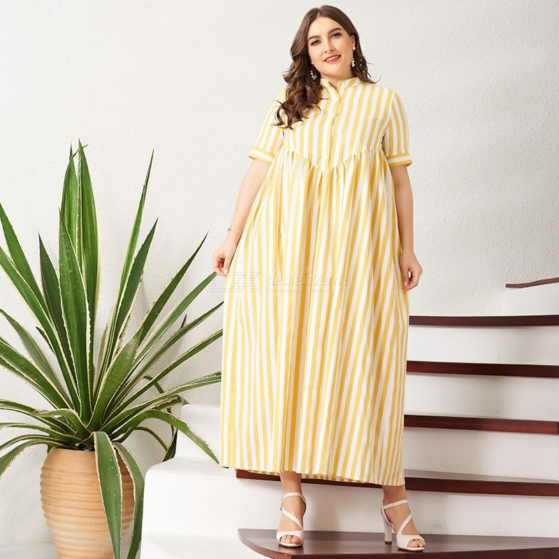 Woman Color contrast Loose Inelasticity Stripe Sweety Dress