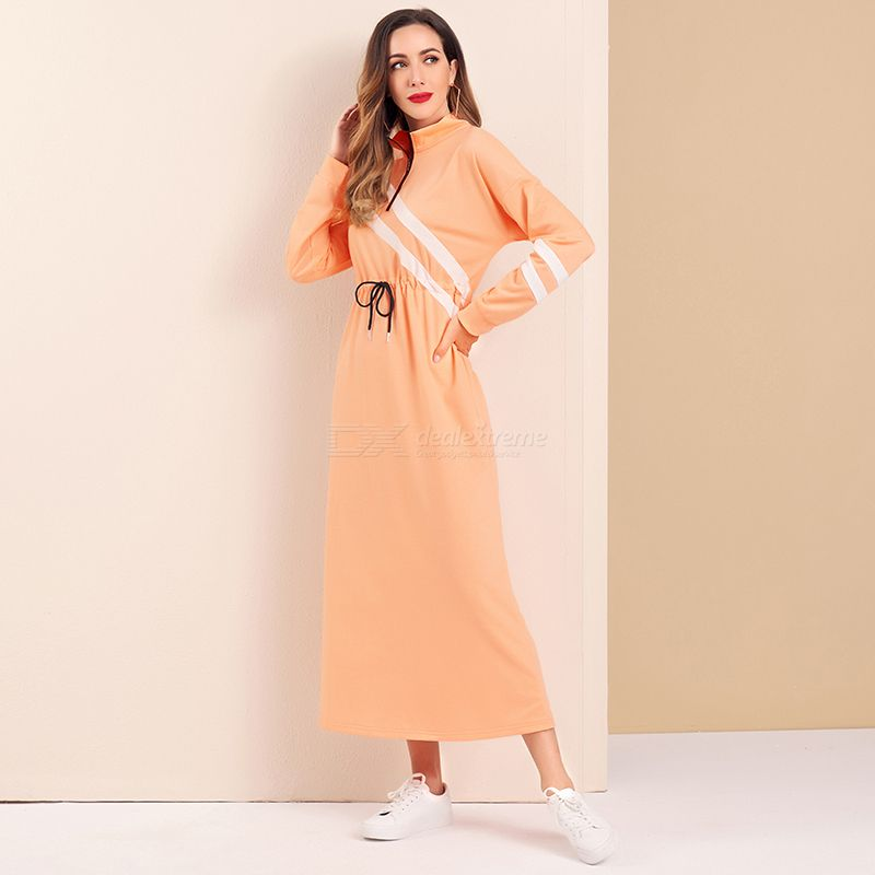 Woman Joint Waist drawstring Color contrast Loose Inelasticity Printing Sport Dress