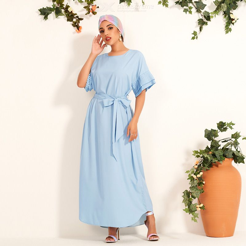 Woman Ruffle Loose Inelasticity Pure Color Sweety Dress