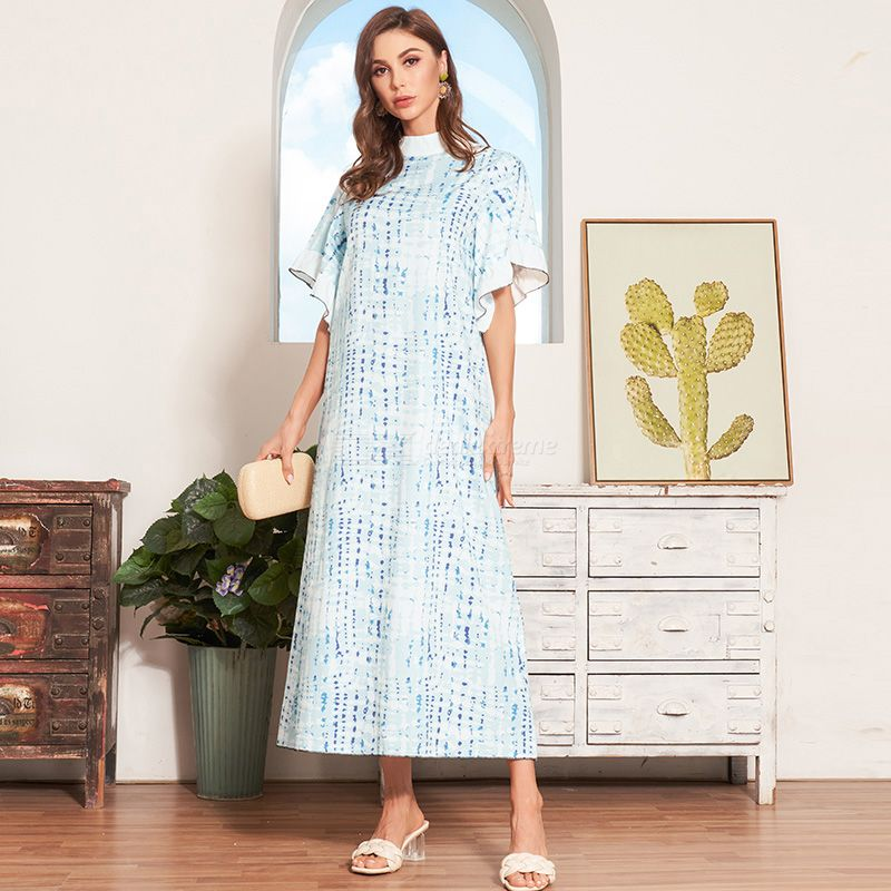 Woman Joint Printing Color contrast Loose Inelasticity Printing Bohemian style Dress