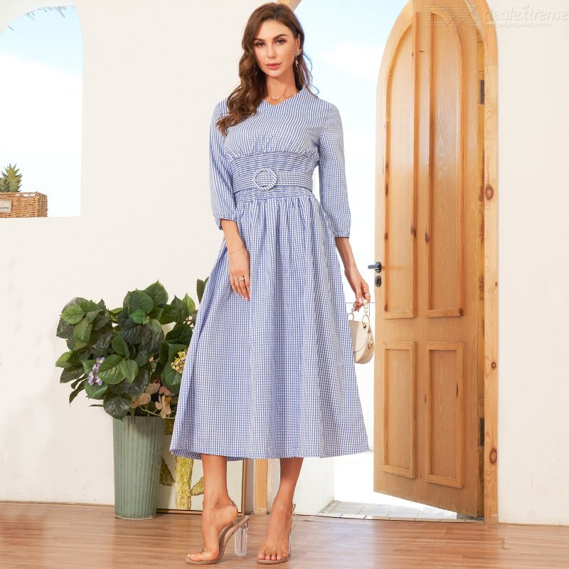 Woman Belt Color contrast Regular Inelasticity Grid Sweety Dress