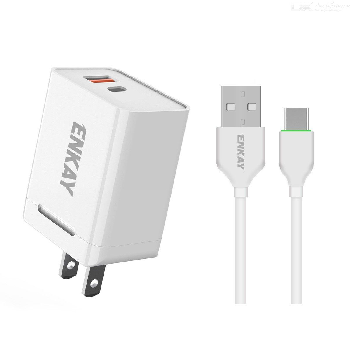 Hat-Prince ENKAY 18W USB + Type-C Power Adapter QC3.0 PD Super Fast Charging US Plug Portable Travel Charger With Micro USB Cabl