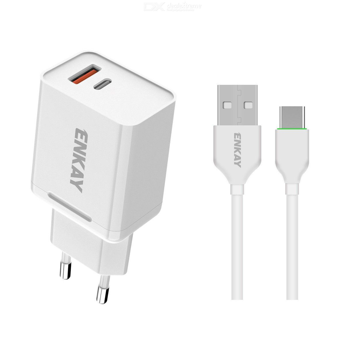 Hat-Prince ENKAY 18W USB + Type-C Power Adapter QC3.0 PD Super Fast Charging EU Plug Portable Travel Charger With Micro USB Cabl