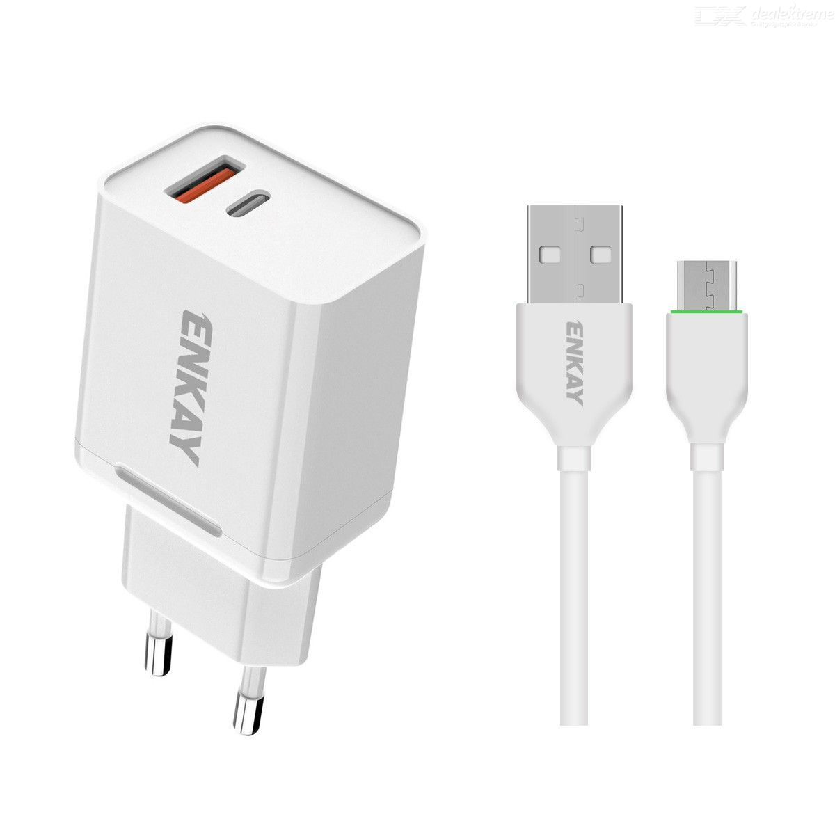 Hat-Prince ENKAY 18W USB + Type-C Power Adapter QC3.0 PD Super Fast Charging EU Plug Portable Travel Charger With Type-C Cable