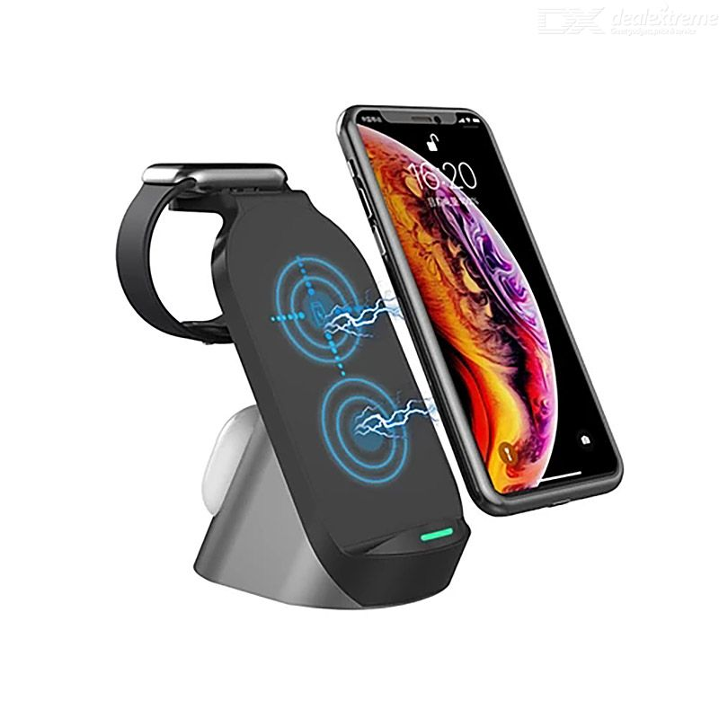 GTWIN 3- In-1 Wireless Charger Vertical Multi-function Foldable Charging Stand For Apple Mobile Phone Watch Headphone