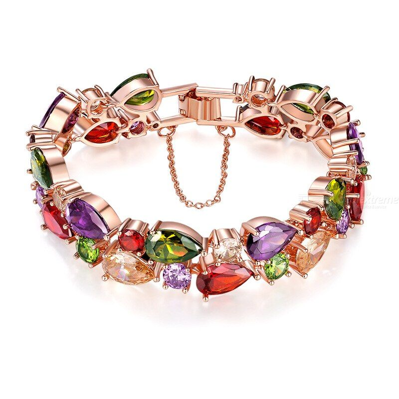 Colorful Zircon Bracelet Colorful Rose Gold Bracelet Rose Gold Bracelet For Women