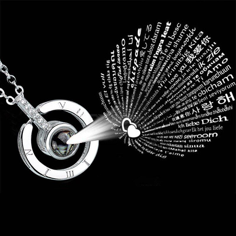I Love You 100 Languages Design Memory Projection Necklace S925 Pure Silver Titanium Steel Pendant Necklace