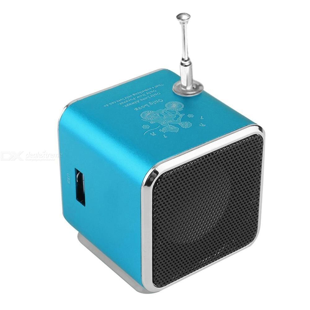TDV26 Mini Subwoofer Stereo Speaker TF Card FM Radio Music Player with Antenna For Mobile Phone Pc Music Player