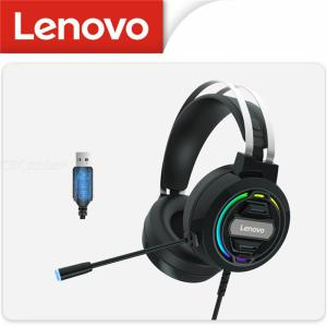 LENOVO H401  Wired Gaming Headset Noise Reduction Headphone With Mic for PC Laptop Gamer Cool Light Effect