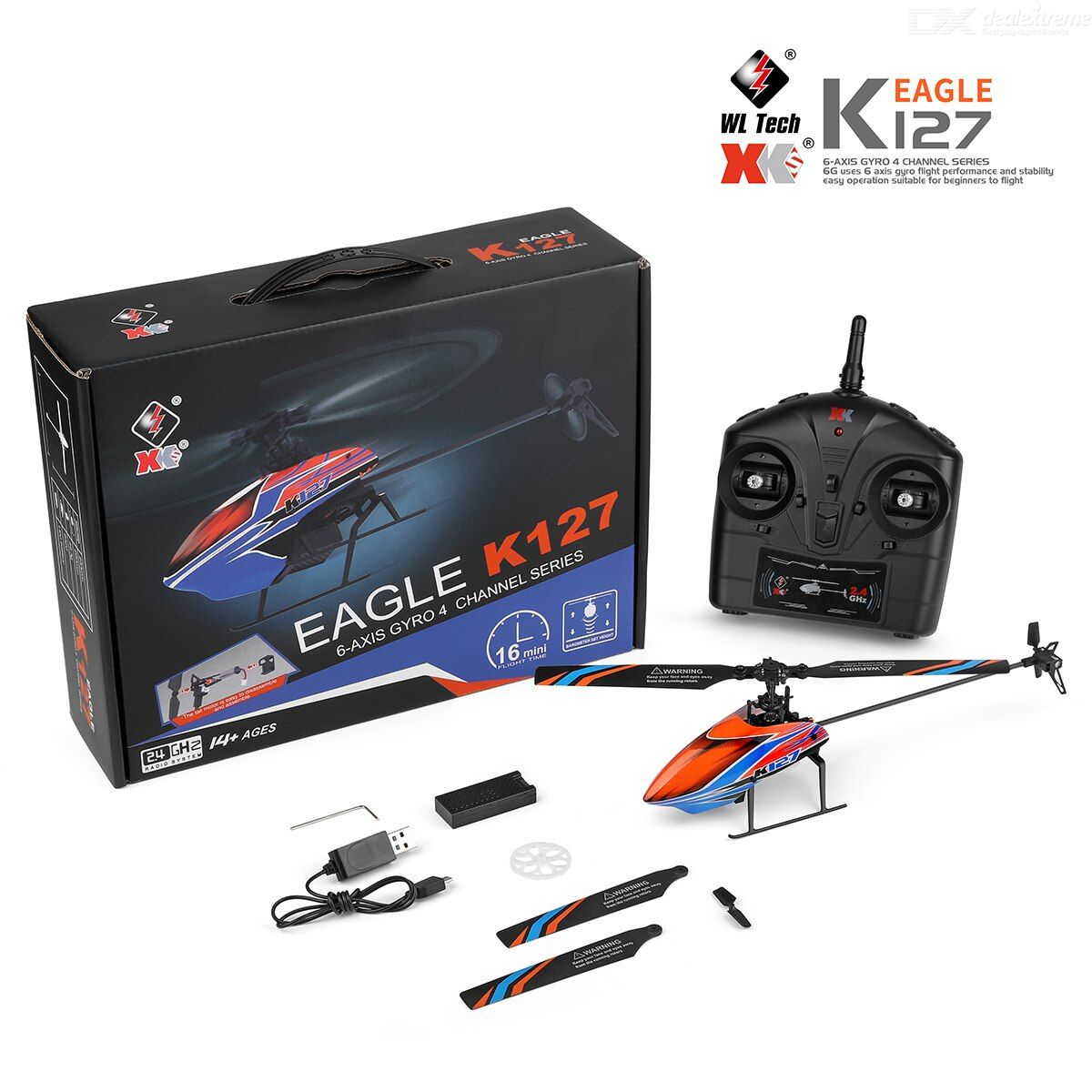 XK Eagle K127Single Oar 4-channel Remote Control Helicopter Toy 2.4G Aileron-free Drone Toy