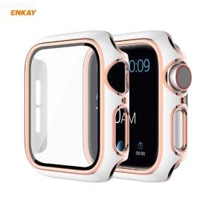 ENKAY Hat-Prince Full Coverage Electroplated PC Case + Tempered Glass Protector for Apple Watch Series 6 / 5 / 4 / SE 44mm