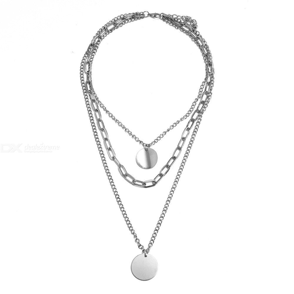 Simple Temperament Retro Necklace Three-layer Long Type Sweater Clavicle Necklace