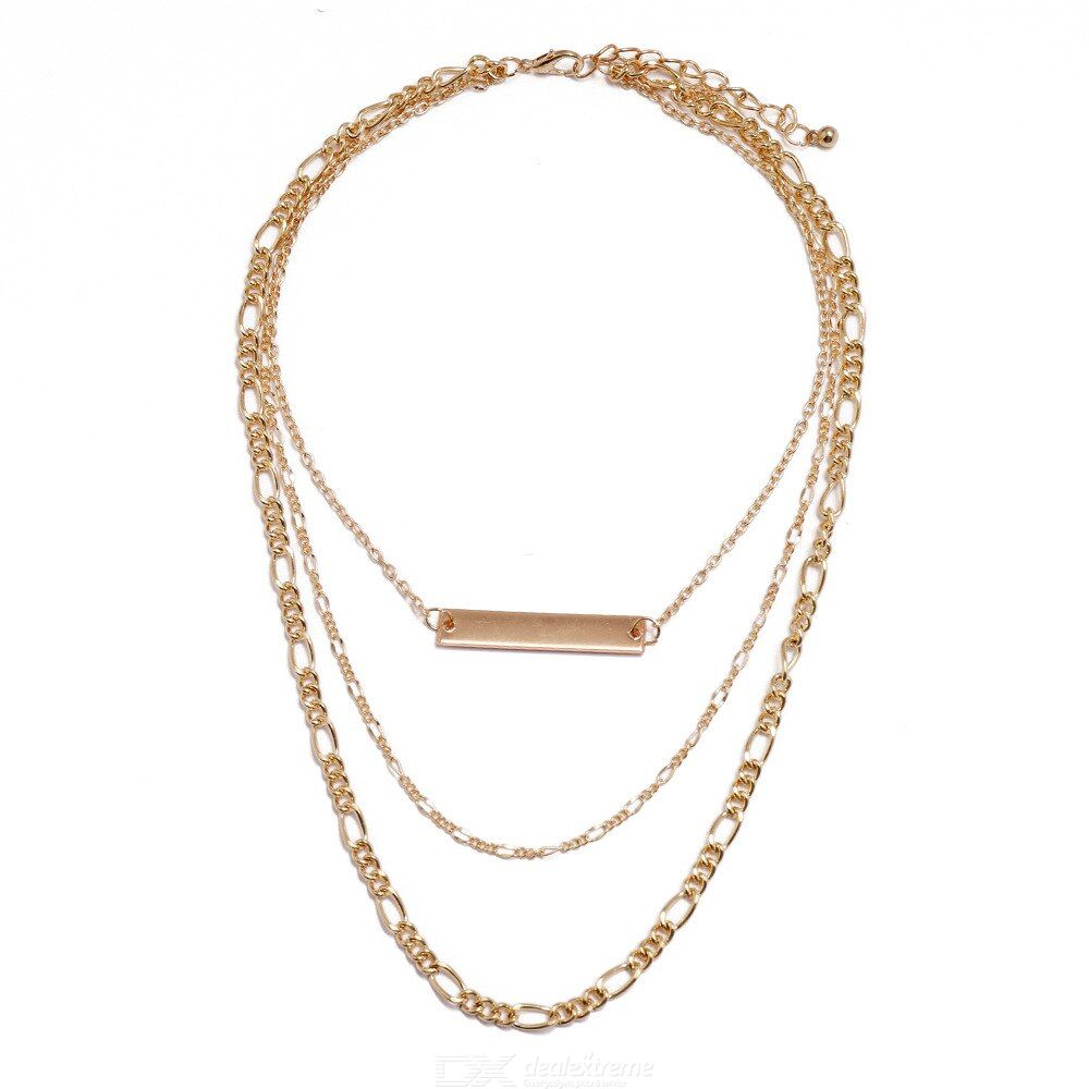 European Style Geometry Creative Pendant Necklace Multi-layer Simple Long-type Necklace
