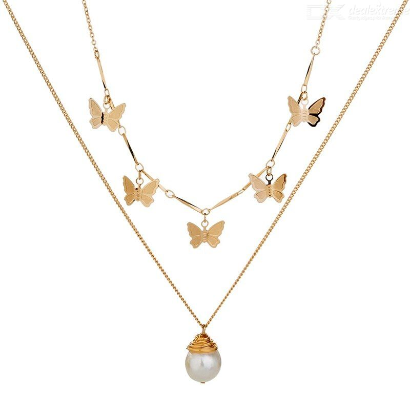 Freshwater Pearl Necklace Clavicle chain Golden Butterfly Necklace for women