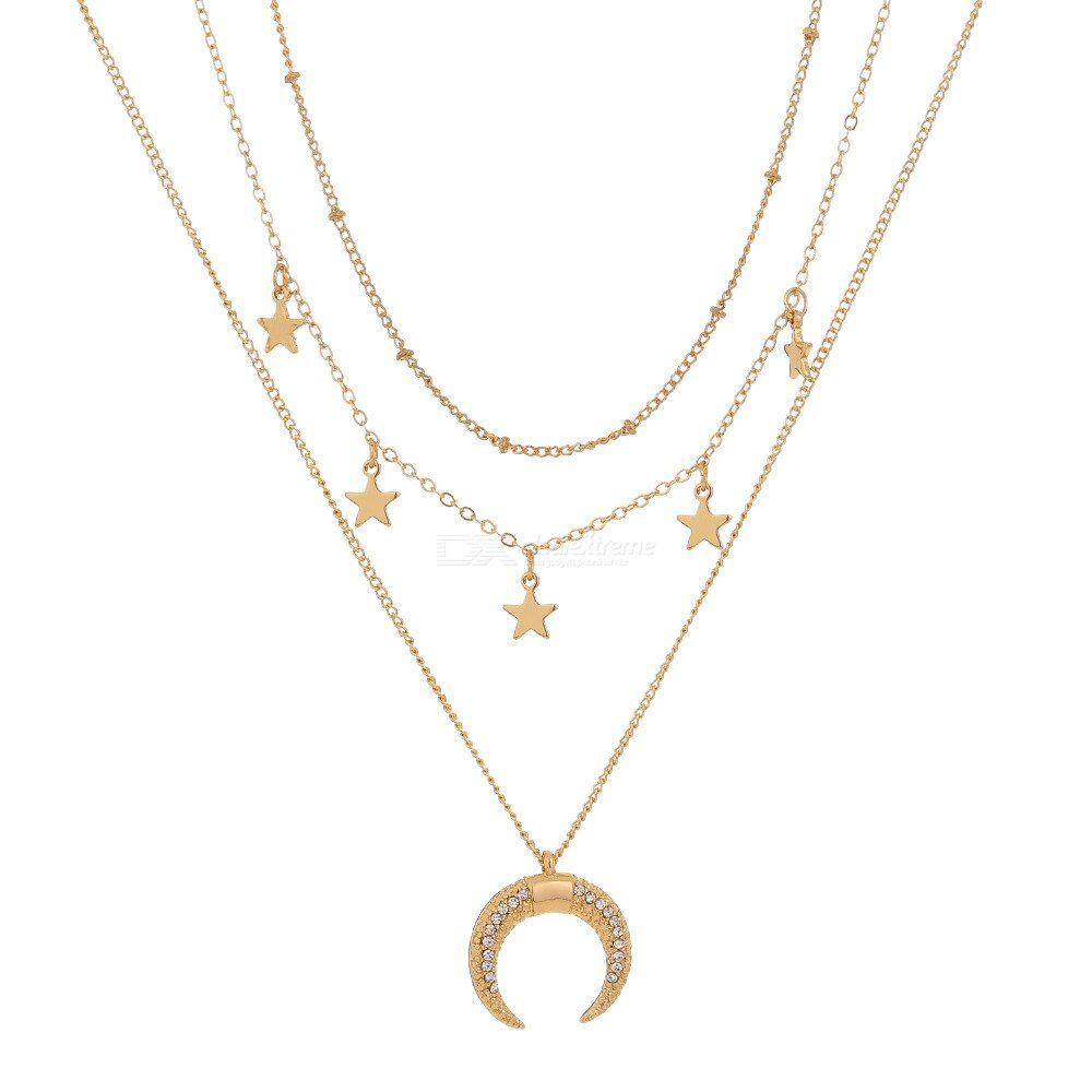 Fashionable Simple Stars Moon Diamond Pendant Necklace Multilayer Clavicle Chain Necklace