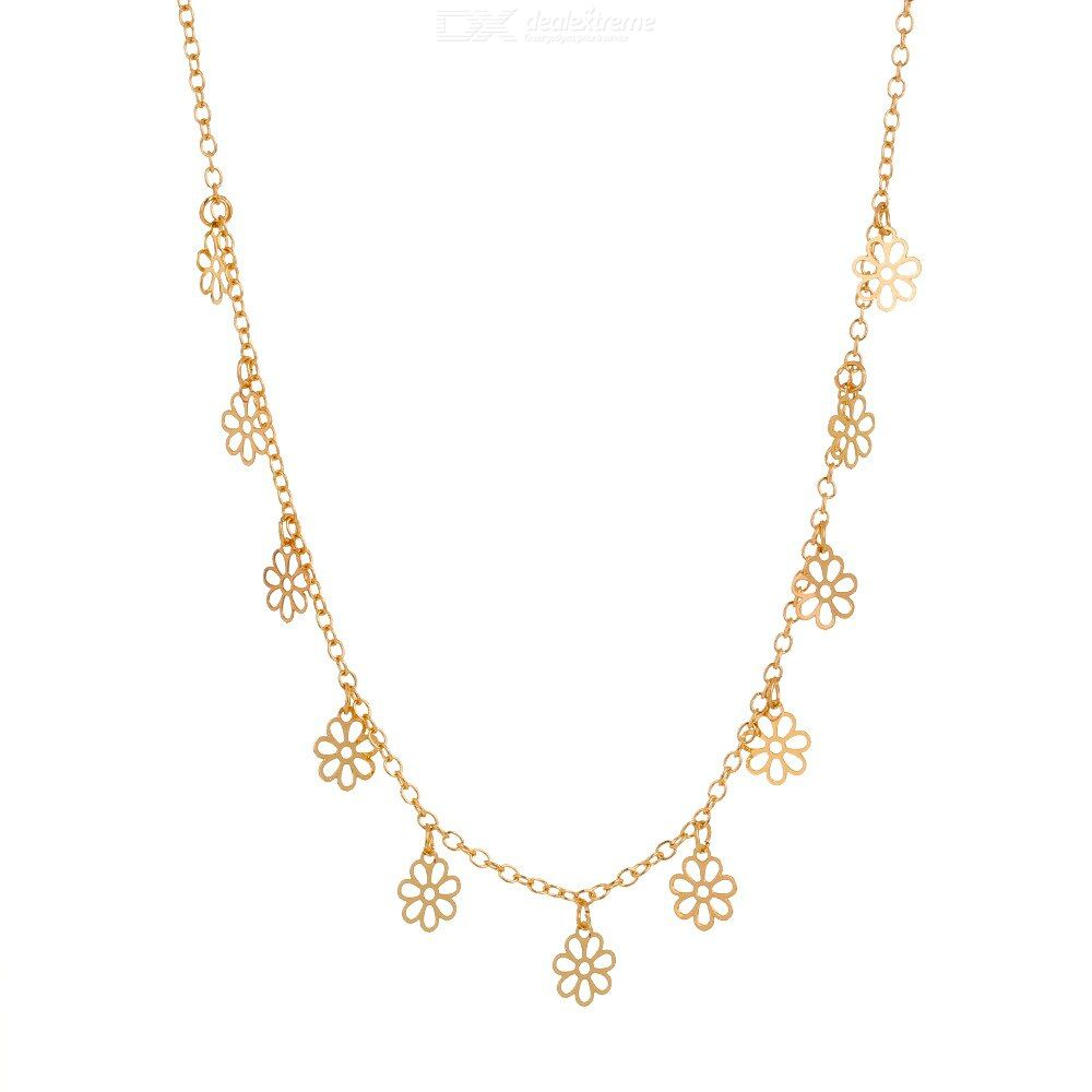 Personalized golden snowflake necklace fringed flowers Single layer necklace Simple versatile necklace