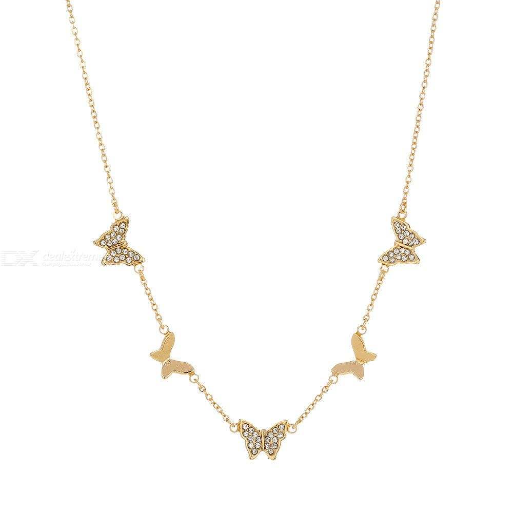 Simple diamond-studded butterfly clavicle chain Tassel Single Layer Necklace for women