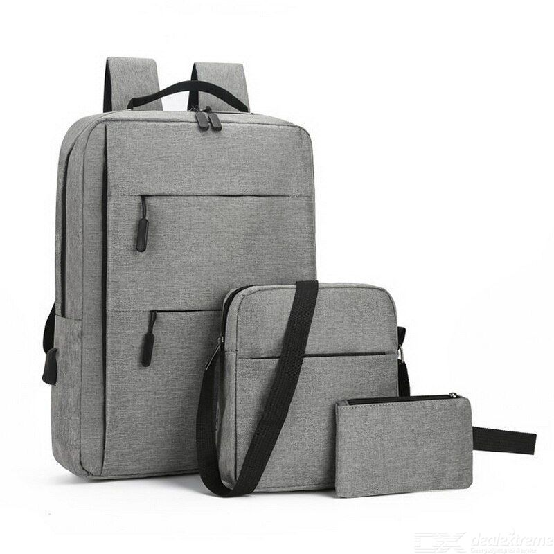 Three-piece usb computer backpack Leisure backpack Large space business backpack
